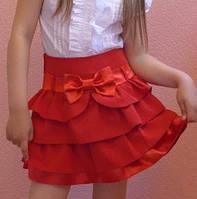 Детская юбка на девочку школа оборочка красный
