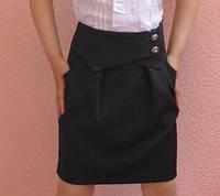 Детская юбка на девочку школа пуговка черный
