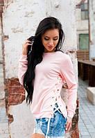 Женский розовый савитшот до длинного рукава с шнуровкой