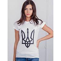 Женская патриотическая футболка «Тризуб» (белая)