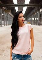 Женская легкая кофта розовая без рукав с бантом на спине