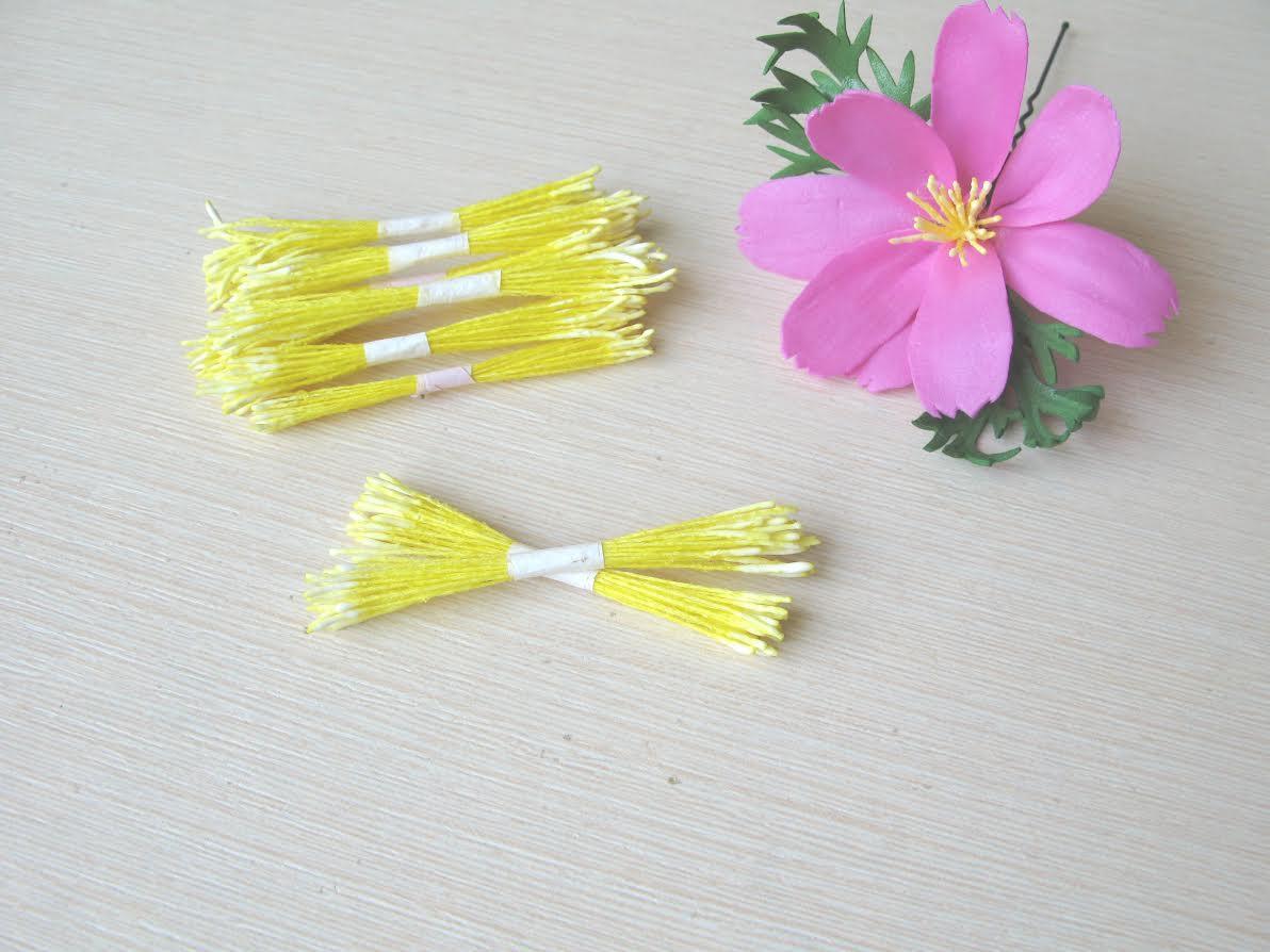 Тайские тычинки, 100 % эффект реалистичности! Лимонные lдлинные на желтой нитке. 25 шт (50 головок)