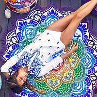 Пляжный коврик Мандала. Фиолетовый с бахромой.