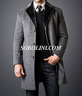 Пальто  мужское с норковым воротником, внутри мех бобра, длина 110см