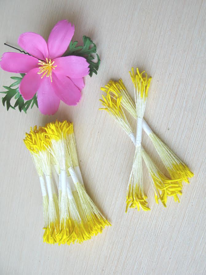 """Тайские тычинки """"палочки"""" ручной работы! Желтые на лимонной нитке. 25 ниток (50 головок)"""