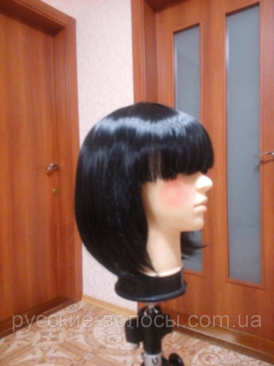 Черный парик каре искусственный