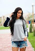 Женский серый свитшот удлиненный комбинированный в двух цветах до длинного рукава
