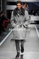 Пальто  длинное мужское с меховым воротником