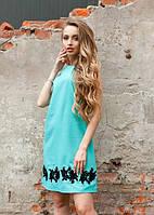 Женское красивое платье свободного кроя с вышивкой цветов без рукав