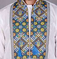 Патриотическая мужская вышиванка с украинской символикой, фото 1