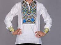 Патриотическая мужская вышиванка с украинской символикой