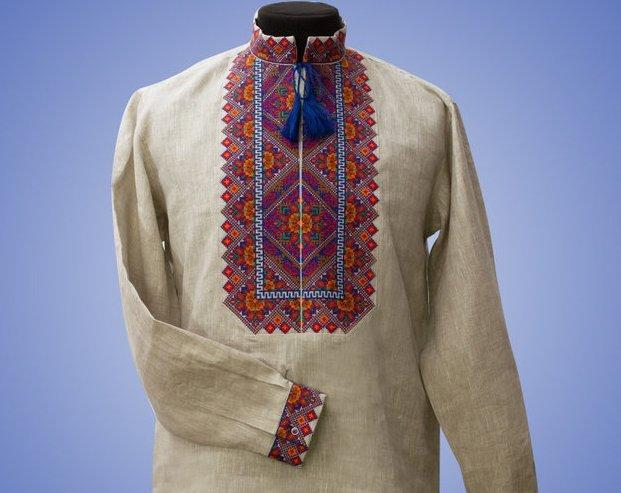 Мужская вышиванка на льне в этно стиле