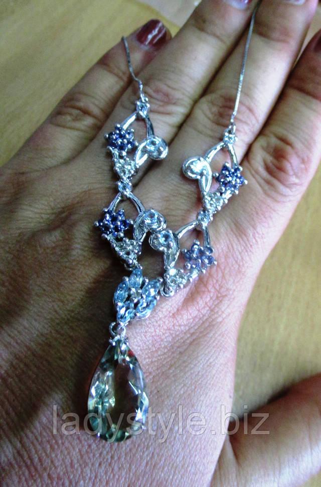 серебряное колье украшения танзанит цаворит рубин гранат изумруд купить юбилей подарок 8 марта