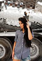 Женская рубашка в клеточку с длинным рукавом с вышивкой на спине
