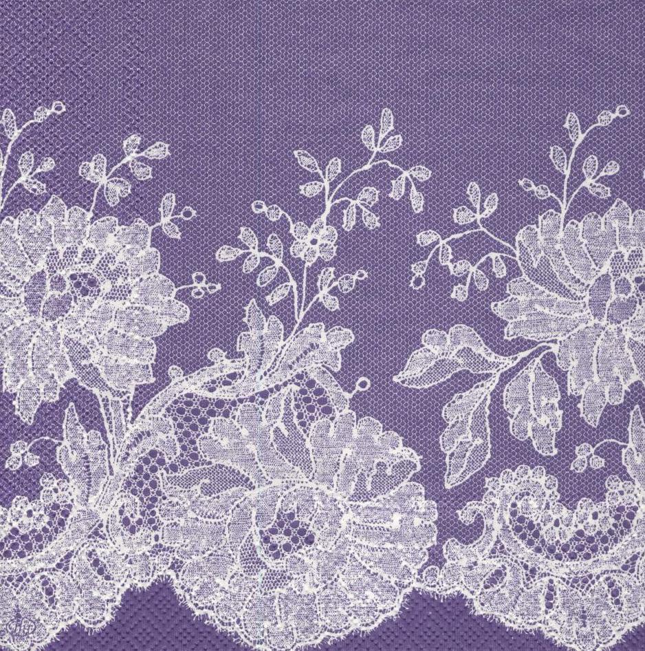 Салфетки декупажные Кружево на фиолетовом фоне 3068
