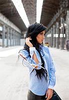 Женская синяя рубашка в полоску до длинного рукава с декором