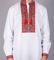 Мужская вышиванка с геометрическими красно-чёрными узорами, фото 1