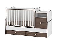 Кровать-трансформер TREND PLUS NEW COLOUR WHITE/WALNUT + mattress
