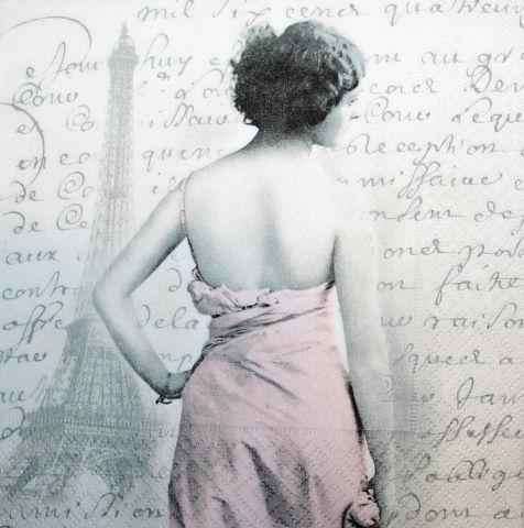 Салфетка декупажная Девушка в Париже 3097