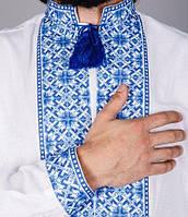 Мужская вышитая рубашка с голубым орнаментом, фото 1