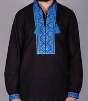 Чёрная мужская вышитая рубашка с голубым орнаментом