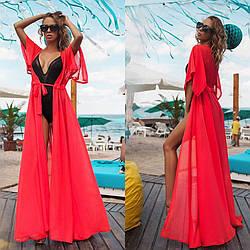 Пляжное платье из красного шифона