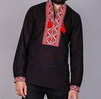 Чёрная мужская вышиванка  с красным орнаментом на льне, фото 1