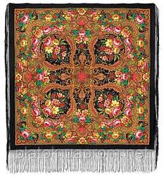 Счастливица 1122-18, павлопосадский платок (шаль) из уплотненной шерсти с шелковой вязанной бахромой