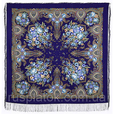 Магия чувств 1629-14, павлопосадский платок шерстяной (двуниточная шерсть) с шелковой бахромой