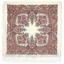 Лира 1720-2, павлопосадский платок шерстяной с шелковой бахромой