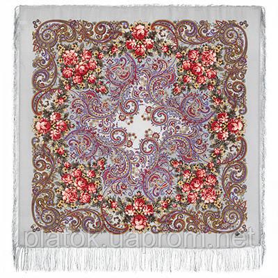 Секрет успеха 1635-2, павлопосадский платок шерстяной (двуниточная шерсть) с шелковой бахромой