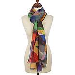 Калейдоскоп 10169-1, павлопосадский шарф-палантин шерстяной (разреженная шерсть) с осыпкой, фото 2