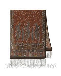 Медея 1473-67, павлопосадский шарф шерстяной  с шелковой бахромой