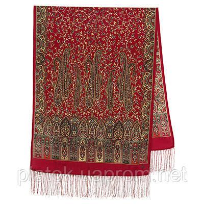 Медея 1473-55, павлопосадский шарф шерстяной  с шелковой бахромой