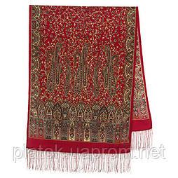Медея 1473-55, павлопосадский вовняний шарф з шовковою бахромою