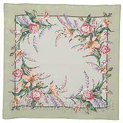 Летний ветерок 1632-10, павлопосадский шейный платок (крепдешин) шелковый с подрубкой