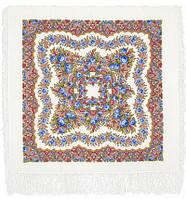 Романтика 1381-1, павлопосадский платок шерстяной  с шелковой бахромой   УЦЕНКА!!!, фото 1