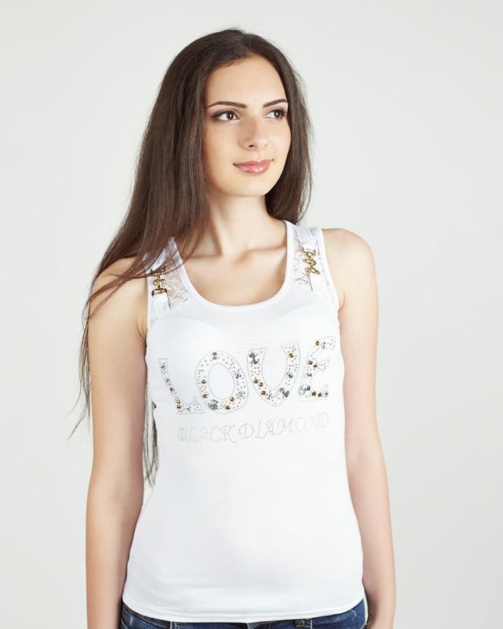 349b7c1948cd9 Модная нежная стильная майка со стразами , белая - Интернет магазин