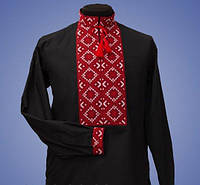 Вышитая мужская рубашка из чёрного батиста