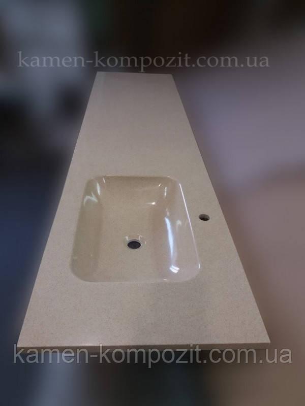 Столешница в ванную с цельнолитой раковиной - Камень-Композит в Запорожье
