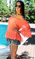 Ярко-персиковая блуза свободного кроя