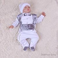 """Нарядный комплект """"Фрак"""" (серебро) для новорожденных."""