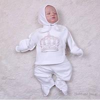 """Трикотажный комплект для новорожденных """"Queen"""" (молоко)"""