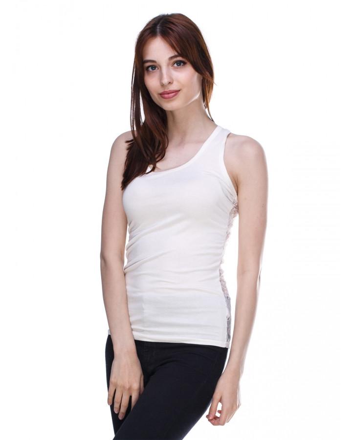 a2e30e0be5d70 Нежная стильная модная майка с кружевной спинкой , бежевая - Интернет  магазин