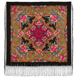 Лабзинский 1722-18, павлопосадский платок (шаль) из уплотненной шерсти с шелковой вязанной бахромой