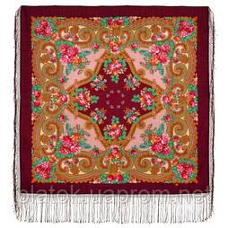 Лабзинский 1722-7, павлопосадский платок (шаль) из уплотненной шерсти с шелковой вязанной бахромой