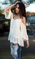 Светло-бежевая блуза свободного кроя