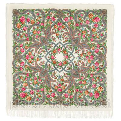 В мире любви 1674-0, павлопосадский платок шерстяной  с шелковой бахромой