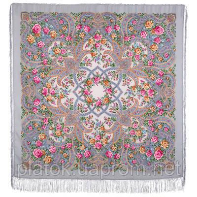 В мире любви 1674-15, павлопосадский платок шерстяной  с шелковой бахромой