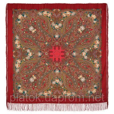 Вечер в усадьбе 1671-6, павлопосадский платок шерстяной  с шелковой бахромой